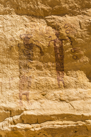 San Rafael Swell: A 3000 year old rock art pictograph, found near the Head of Sinbad panel in the San Rafael Swell in Southern Utah. Stock Photo