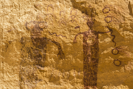san rafael: A 3000 year old rock art pictograph, found near the Head of Sinbad panel in the San Rafael Swell in Southern Utah. Stock Photo