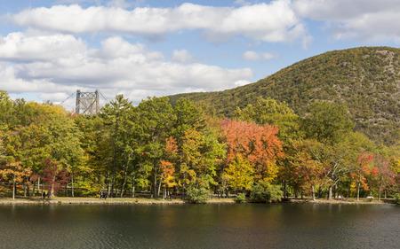 mountin: Early Autumn on Hessian Lake in Bear Mountin State Park, New York.