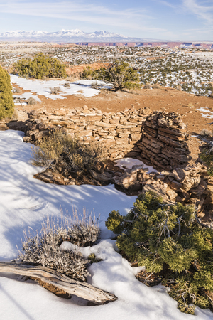 grainery: The remains of a Native American grainery on top of Aztec Butte, in the Island in the Sky section of Canyonlands National Park, Utah. Stock Photo