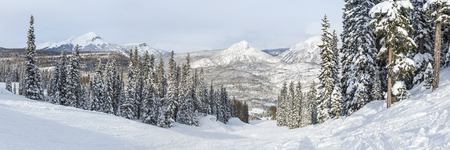 A panoramic view of the Hades run at Purgatory Ski Resort in the San Juan National Forest in Colorado. Stok Fotoğraf