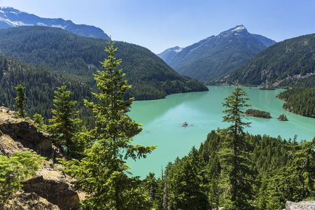 Turquoise Diablo Lake seen from the Diablo Lake Overlook in North Cascades National Park, Washington. Stock Photo