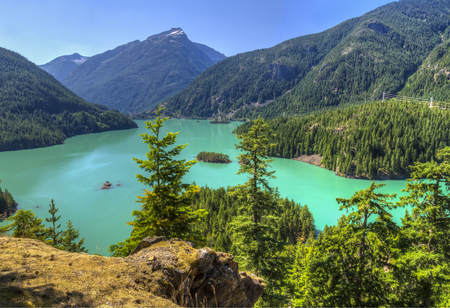 overlook: Turquoise Diablo Lake seen from the Diablo Lake Overlook in North Cascades National Park, Washington. Stock Photo