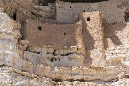dwellings: Closeup view of the Native American cliff dwellings in Montezuma Castle National Monument, Arizona Stock Photo