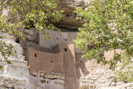 dwellings: The Native American cliff dwellings of Montezuma Castle National Monument, Arizona, seen through the branches of sycamore trees. Stock Photo