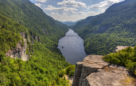 indian head: A magnificent view of Lower Ausable Lake from the Indian Head Lookout in the high peaks region of the Adirondack Mountains of New York.