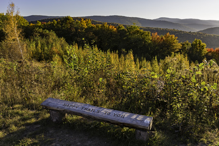 end of the trail: Bench at the end of the Shaverton Trail overlooking the Pepacton Reservoir in Andes in the Catskills Mountains of New York.