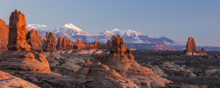 adn: Warm late afternoon sunlight sidelights the rock formations in the Garden of Eden adn the Windows Sections, with the LaSal Mountains behind in Arches National Park, Utah