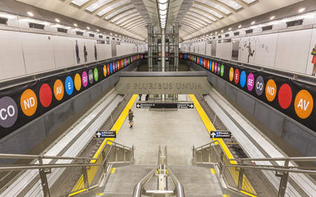 unum: February 5, 2017: A staircase down to the new 72nd Street Q Train platform on the Second Avenue Subway line, New York.
