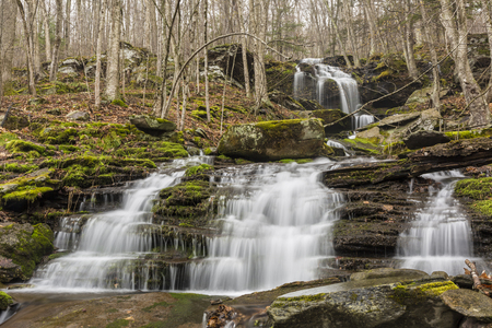 A seasonal Catskills waterfalls on Bushnellsville Creek below Halcott Mountain near Bushnellsville in the Catskill Mountains of New York.