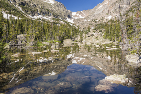 Chaos Creek flows through a pond out of Lake Haiyaha in Rocky Mountain National Park, Colorado