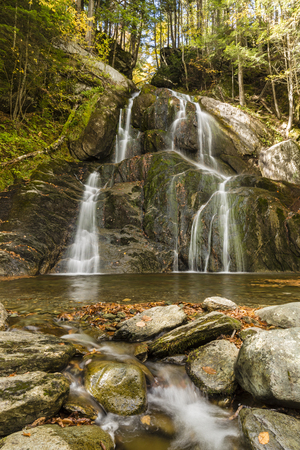 Front view of Moss Glen Falls in Granville, Vermont, along Vermont Route 100.
