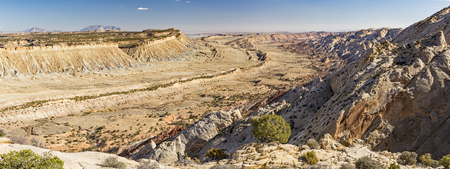 Panoramic view of the Waterpocket Fold from the Strike Valley Overlook in Capitol Reef National Park, Utah. Stock Photo