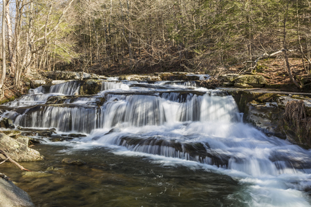 A multi-tiered waterfalls on Stony Clove Creek in Greene Country in the Catskill Mountains in Edgewood, New York