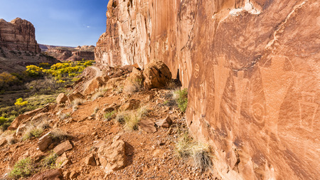 Petroglyphs along Kane Creek Road above Kane Springs Canyon with golden Autumn Cottonwood trees near Moab, Utah.