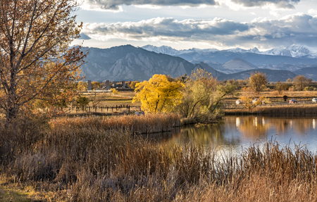 The Flatirons and Front Range of the Rocky Mountains Reflected in Stearns Lake in Autumn in Broomfield, Colorado