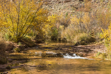 A small waterfalls with lots of Autumn color reflected in the stream in Grandstaff Canyon near Moab, Utah