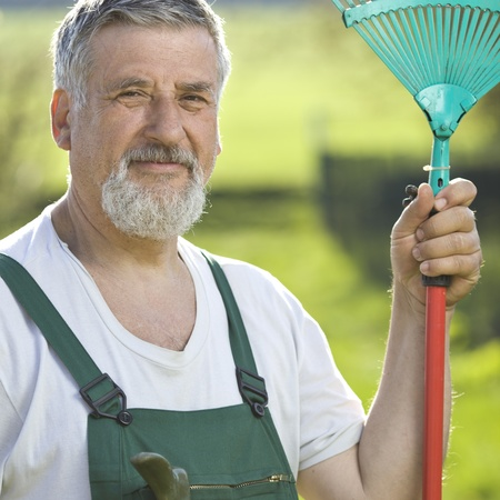 portrait of a senior man gardening in his garden Stock Photo - 9692138