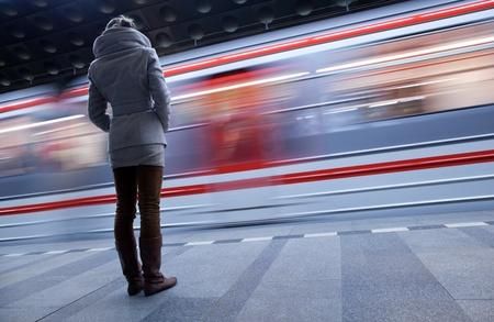 underground passage: Subway station (motion blurred & color toned image)