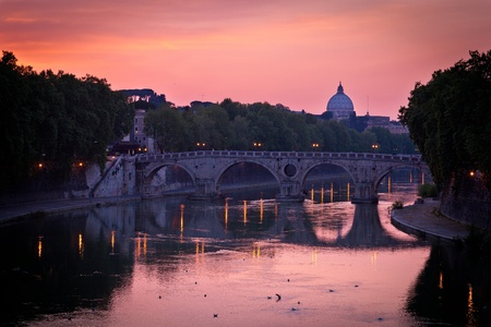 tiber: Panoramic view of St. Peters Basilica and the Vatican City (with the river Tiber winding around it) - Rome, Italy