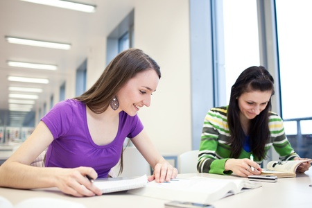 two pretty, young college students in a library (shallow DOF; color toned image) Stock Photo - 9798236