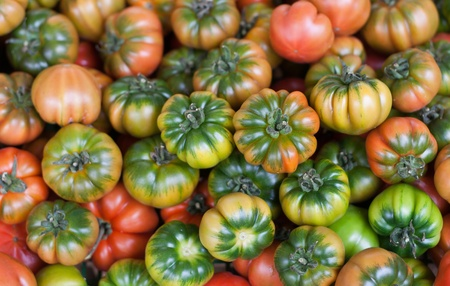 Fresh Italian Costoluto tomatoes on display at an outdoors farmers market stall photo