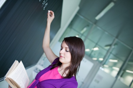pretty young college student writing on the chalkboard/blackboard during a math class Stock Photo - 9902298