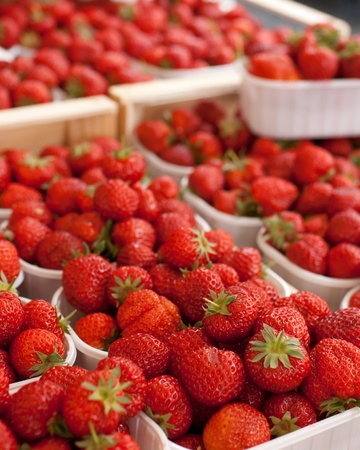 farmers market series - fresh strawberries (shallow DOF) photo