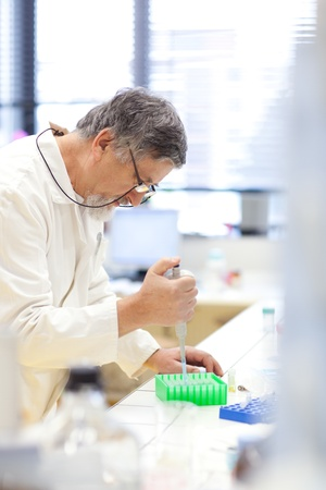 senior male researcher carrying out scientific research in a lab (shallow DOF; color toned image) Stock Photo - 9800126