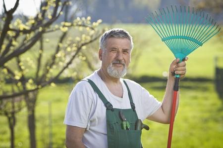 dibble: portrait of a senior man gardening in his garden Stock Photo
