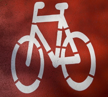 urban traffic concept - bikecycling lane sign in a city photo