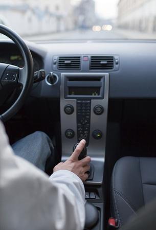 car dashboard: driving a modern car in a city