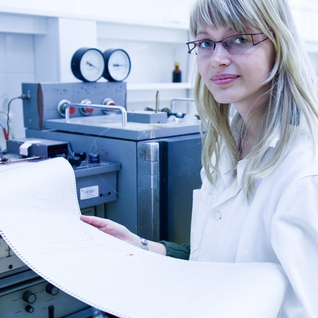 portrait of a female researcher carrying out research in a chemistry lab (color toned image; shallow DOF) Stock Photo - 9804946