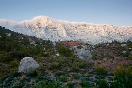 timelapse: Mont Sainte Victoire in Provence, France Stock Photo