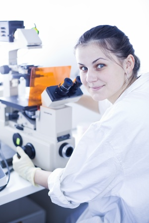 portrait of a female researcher doing research in a lab (color toned image; shallow DOF) Stock Photo - 9817006