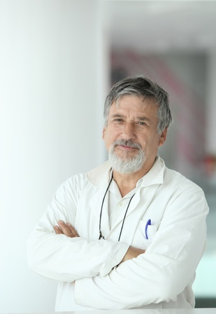 Renowned scientistdoctor in a research centerhospital looking confident photo