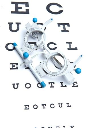 eye wear: optometry concept - sight measuring spectacles & eye chart