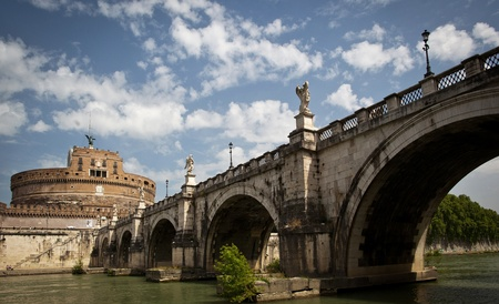 View of the Castel Sant'Angelo (Mausoleum of Hadrian) and the Ponte Sant'Angelo bridge in Rome, Italy Stock Photo - 9906506
