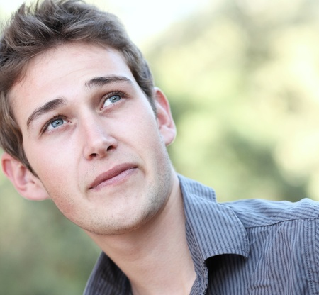 casual handsome young man close-up portrait photo