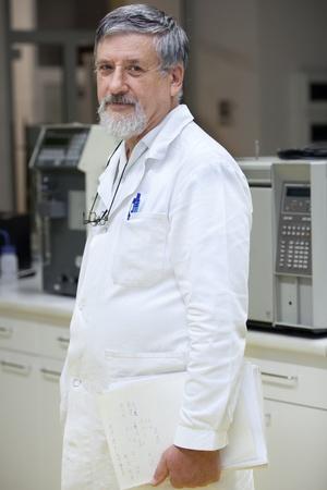 Portrait of a senior scientist in a hospitallaboratorylab photo