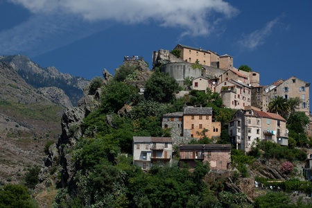 pano: View of Corte, Corsica  Editorial
