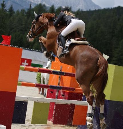 jumping fence: Bella dama saltando con su caballo semental durante un evento de mostrar competencia de salto Foto de archivo
