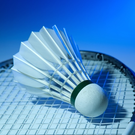 Badminton racket and shuttlecock on its strings photo