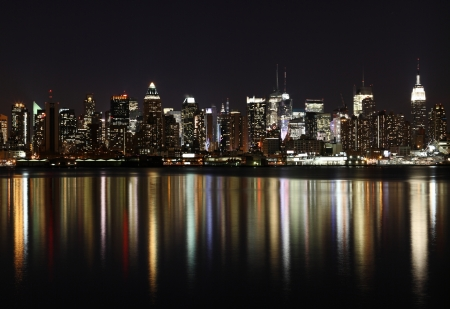 west river: Midtown (West Side) Manhattan at night (panoramic photo made of multiple shots -> great resolution, very suitable for large size prints) Stock Photo