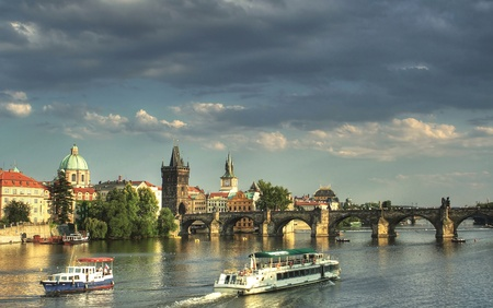 vltava: View of the famous Charles Bridge in Prague, Czech republic with the river Vltava Stock Photo