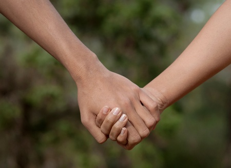 lovers holding hands: Lovers couple holding hands in a forest (summerspring)