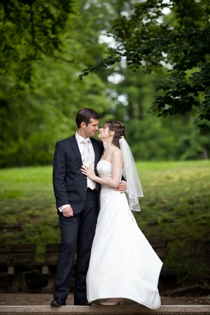 young wedding couple - freshly wed groom and bride posing outdoors on  their wedding day Stock Photo - 9915368