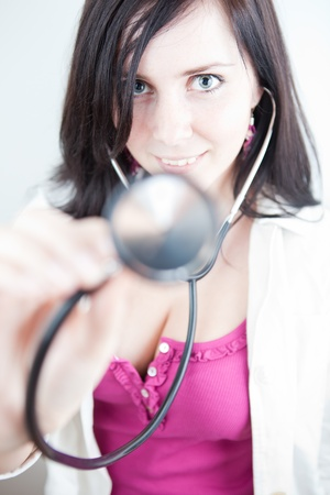 Very pretty young doctor with stethoscope  Stock Photo - 9926162