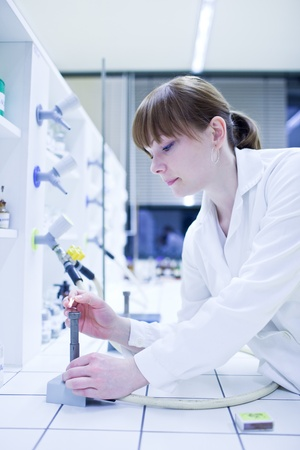 pretty young female researcher lighting up a burner in a lab (shallow DOF; color toned image) photo