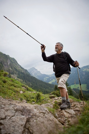 handsome senior man showing direction with his nordic walking pole while  hiking in the mountains (Swiss Alps) photo